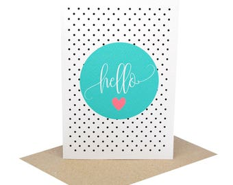 Blank Card | Hello Card | Hello Turquoise Circle with Polkadot Background | BLA051 | Blank Greeting Card Blank | Handmade Card | Blank Cards