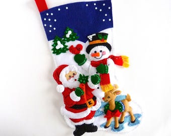 Bucilla Christmas Stockings Finished Complete Personalized Felt Stocking For Children Kids Family Stocking Santa & Snowman Stocking Gift