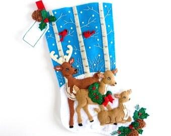 Bucilla Christmas Stocking Finished Bucilla Stocking Personalized Felt Stocking Completed Children Men His Boys Girls Stocking Deer Family