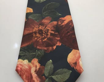 1980s Vintage ITALIAN SILK TIE Silk Necktie Floral Print Fall Colors Autumn Colors All Silk Hand Made Vintage Tie