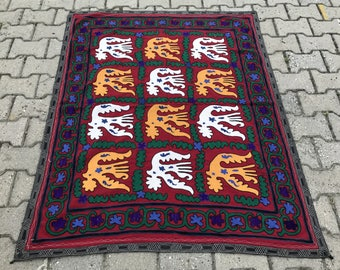 3.74' x 4.72' Suzani Vintage Suzani Old Embroidery Suzani Wall Hanging Uzbek Suzani Table Cover Ethnic Suzani FAST SHIPMENT with UPS - 11006