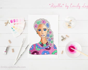 Art Print / Painting Card Invitations Stationary  / Woman Portrait Watercolor / Gray Hair Flowers / DIY Print at Home Art Work Wall Art
