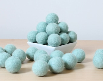 Felt Balls: MINT, Felted Balls, DIY Garland Kit, Wool Felt Balls, Felt Pom Pom, Handmade Felt Balls, Blue Felt Balls, Blue Pom Poms