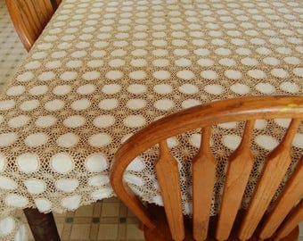 Elegant Grande Dame of Crochet Tablecloths. Vintage crochet or tatted tablecloth. 98 x 62 inch table cloth. Large vintage ecru tablecloth