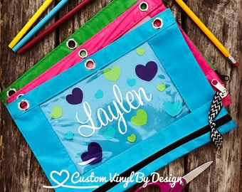 Personalized Pencil Pouch, Personalized Pencil Case, Hearts, 3 Ring Binder Pouch, Zipper Pouch, Zipper Bag, Pencil Bag, Clear Pencil Pouch