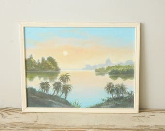 Original Painting Tropical Beach Signed