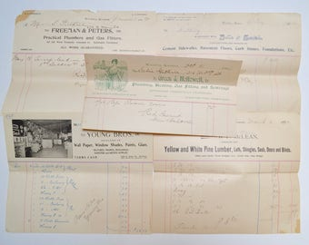 antique vintage advertising ephemera, receipts with letter heads, 1900-1908, lot of 5 pieces