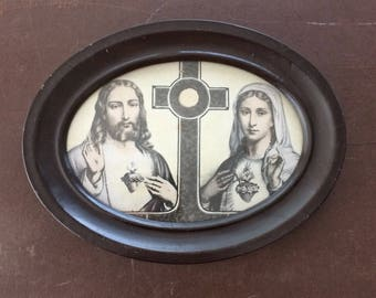 "Jesus and Mary Picture - Vintage Framed Religious Art - 8 1/2"" x 6 1/2"""