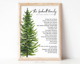 Gift for Parents, Watercolor Family Tree Art Print Poem, Personalized Family Grandparent Anniversary Gift, 8x10 nches UNFRAMED