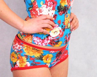 Womens Underwear, Red Flower Panties, Comfortable Knickers, Handsewn Briefs, Unique Gift, Flower Print Panties, Undies,  Boyshorts, Lingerie