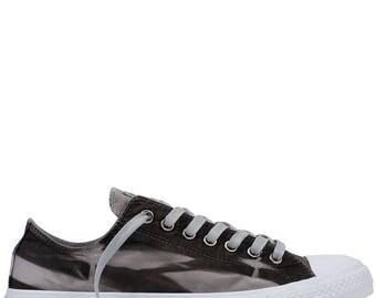 Converse Low Top Gray Black Marble Arashi Wash Grey Ombré Custom Canvas Bling w/ Swarovski Crystal Rhinestone Chuck Taylor All Star Shoes