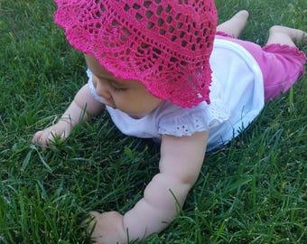 The Abigail Hat Hand crocheted Child's hat-baby-hat-summer-bonnet-sunhat-cloche