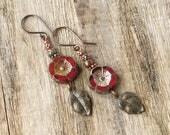 Red flower earrings antiqued leaves copper beads cranberry maroon Picasso Czech glass