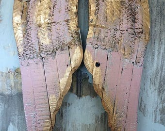 Pink rusty angel wings wall hanging gold accents shabby cottage chic wood w/ metal painted carved french chic home decor Anita Spero design