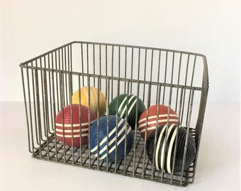 Six Vintage Croquet Balls, Decorative Wooden Balls, Game Room Decor, Lawn Games and Sports, Instant Collection, Photo Prop, English Pastimes