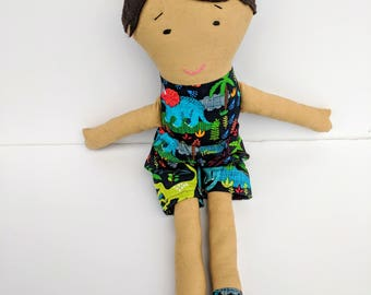 Cute Boy Rag Doll in Dinosaur Print Clothes  / Archaeologist Boy Cloth Doll with Removable Shorts