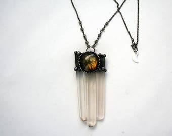Long Quartz Trinity Necklace with Labradorite // Clear White Crystals with Labradorite Statement Necklace