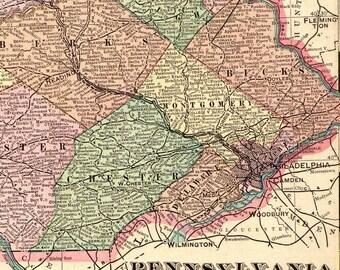1900 Antique PENNSYLVANIA MAP of Pennsylvania State Map Gallery Wall Art Library Decor Gift for Traveler Birthday Wedding 5638