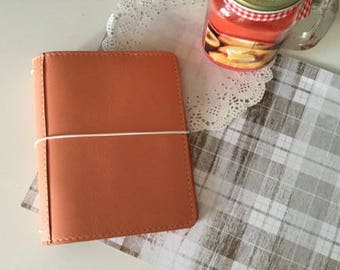 Peach Leather Traveler's Notebook Cover NAYAdori /Midori style notebook cover/ Leather Journal / Fauxdori/ Wide Fit
