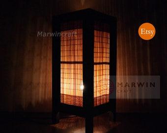 Asiatische Oriental Bambus Lampe Zen Nachttisch Boden Tisch Japanischen Papier Licht Schattierungen Schlafzimmer