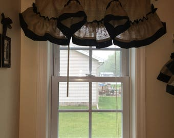 Scalloped Burlap Ruffled Valance