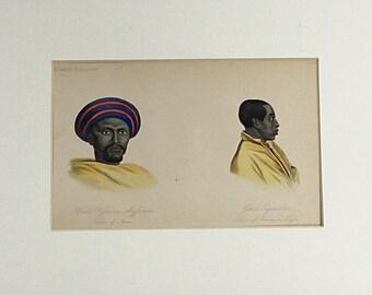 1855 Natural History of Man, Native of Shoa, Adowa Tigre, Ethiopia Abyssinia, Balliere, Male portraits, Man in turban