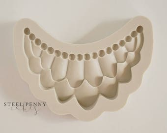 Pearl, Ruffle Swag Border Silicone Mold for fondant and gumpaste cake decorating