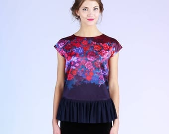 Wild Roses - top with frill