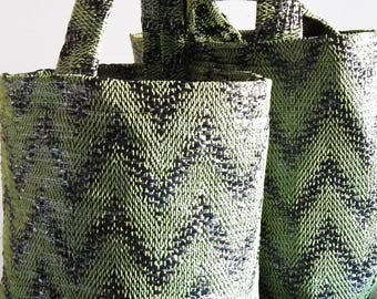 Hand woven Summer bag, tote bag, made from recycled materials