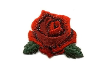 Rose Pin Brooch - Red Rose Bloom - Flower - Red Embroidered - Jewlery 1 7/8""