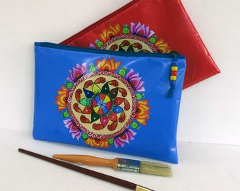 SMALL clutch fancy multicolored, blue or red, waterproof oilcloth with zipper