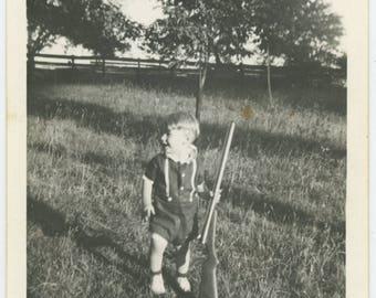 Vintage Photo Snapshot: Small Boy with Shotgun, 1930s-40s (76586)