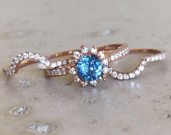 Blue Sapphire Engagement Ring Set- Sapphire Engagement Rose Gold Ring- Floral Engagement Ring- Sapphire Bridal Set Wedding Rings