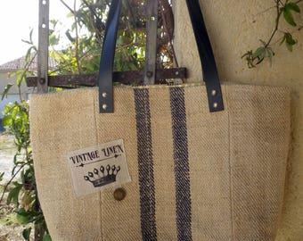 Sac-cabas à main, sac porté épaule, cabas réalisé dans un chanvre ancien.