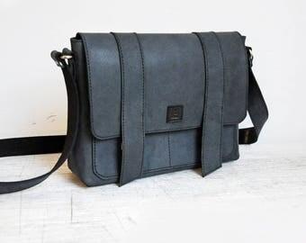 Leather messenger bag, Dark blue laptop bag, Navy large shoulder bag