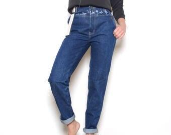 Deadstock 80's JORDACHE Floral High Waisted Jeans Sz 27W