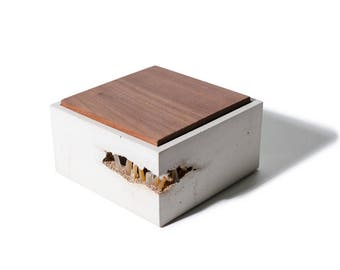 Minimalist Square Concrete Box with Quartz Crystals and Walnut Lid from a Fallen Tree