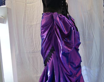 Purple Taffeta 2 piece Bustle Skirt Victorian Steampunk Goth Size 20 OBSIDIAN