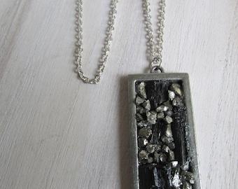 Tourmaline and Pyrite pendant