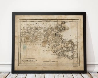 Old Massachusetts Map Art Print 1816 Antique Map Archival Reproduction