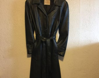 Small Vintage 1960s Black Leather Belted Trench Coat ~ Leathers by New England Sports Wear Co.