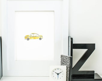 new york city print - new york city wall art - new york city art - new york city poster - yellow taxi wall art - new york city cab print