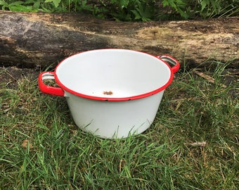 White Enamel Stock Pot with Red Trim and Handles