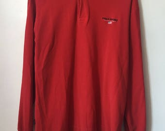 vintage polo sport long sleeve polo shirt mens size large 90s
