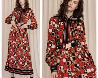 vintage 60s/70s JEAN VARON graphic op pop art print wool maxi dress