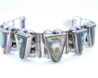 Vintage Sterling Silver and Abalone Iguala Mexico Hinged Bracelet - 10 Abalone Panel Link Bracelet # 4406