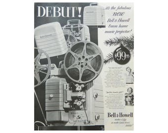 Vintage Camera Ad - Bell & Howell 8mm Home Movie Projector from 1952