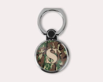 Camouflage Cell Kickstand with initial - Universal finger grip - Gift under 20 for him - Ring Stand phone case holder - Choose your letter