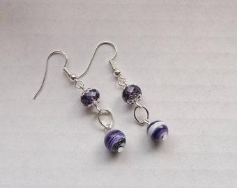 Purple/White Gemstone Earrings, Women's Earrings, Purple Dangle Earrings