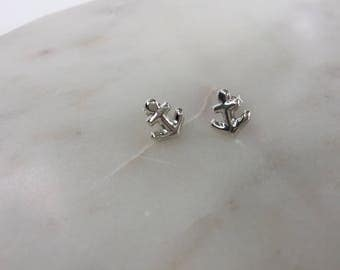 Silver Anchor Studs Earrings